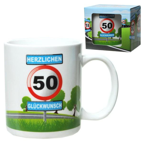Becher 50 zum Geburtstag Motiv Verkehrsschild