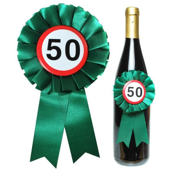 Flaschen Rosette zum 50. Geburtstag für Flaschendeko