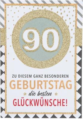 Originelle Klappkarte mit Zahlen Geburtstagskarte Zahlenmotiv zum 90.Geburtstag