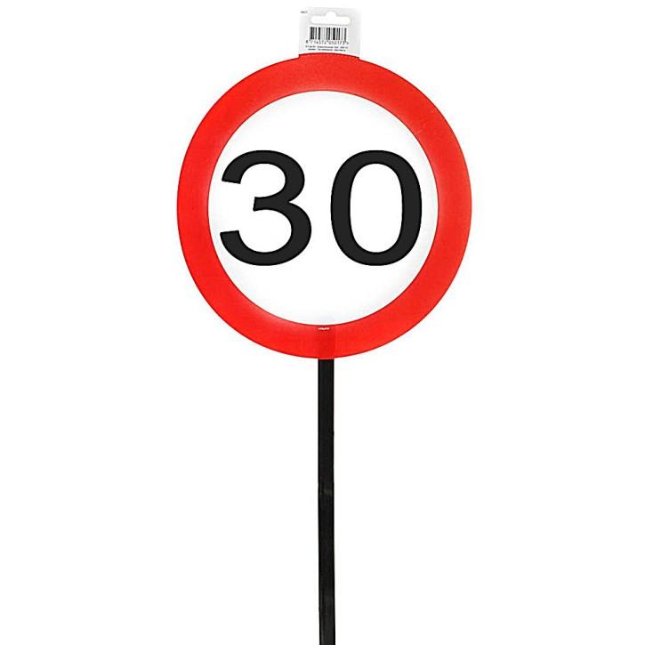 Schild 30 mit Stab zum 30. Geburtstag