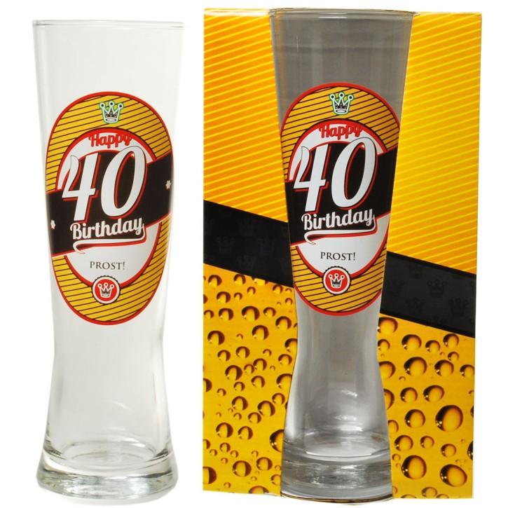 "Bierglas zum Geburtstag ""40 Happy Birthday"""