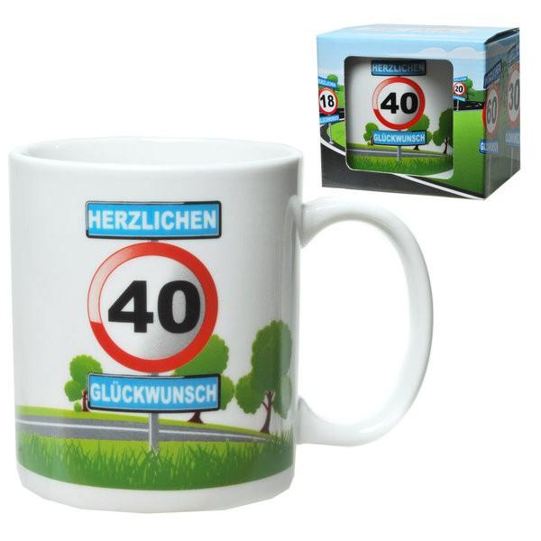 Becher 40 Motiv Verkehrsschild zum 40. Geburtstag