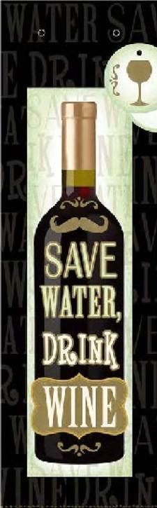 3D Flaschentüte Geschenktüte 10 x 10,4 x 34cm Save Water, drink