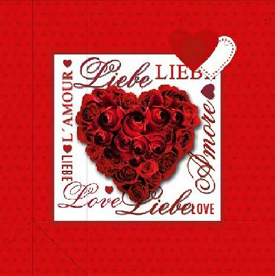 3D Große Geschenktüte 10 x 25 x 25cm Liebe, Amore, Love, L'Amour