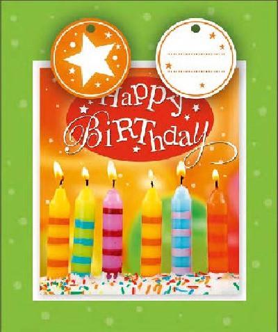 3D Kleine Geschenktüte 6 x 12,5 x 15cm Happy Birthday Kerzen