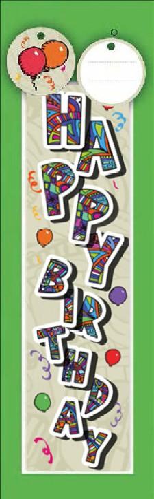 3D Flaschentüte Geschenktüte 10 x 10,4 x 34cm HAPPY Birthday