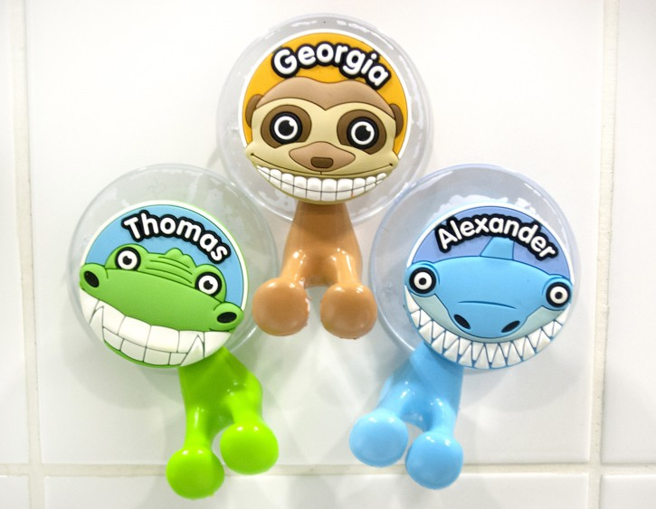 Kinder Zahnbürstenhalter Tierfiguren Blanko / MotivKrokodil grün