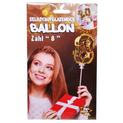 Folien Ballon zum Geburtstag mit Zahl 8 selbstaufblasend Farbe gold