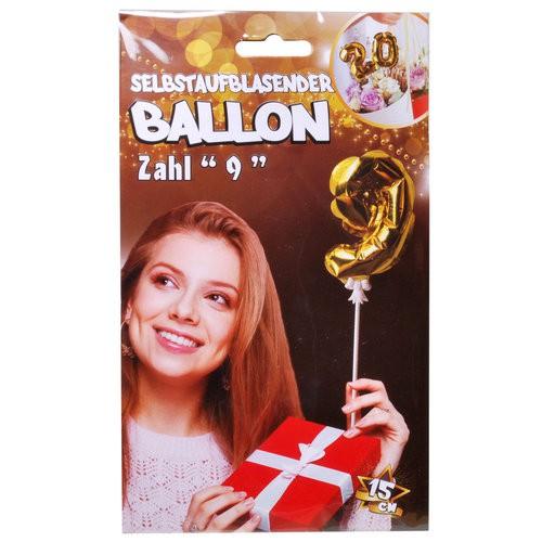 Folien Ballon zum Geburtstag mit Zahl 9 selbstaufblasend Farbe gold