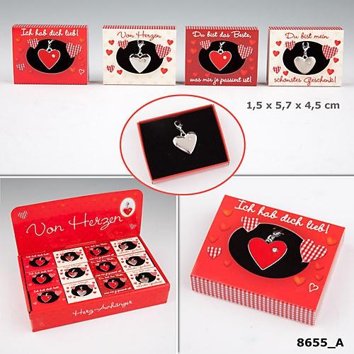 Herz Anhänger Heart charms in matchbox 1 von 4 Textvarianten