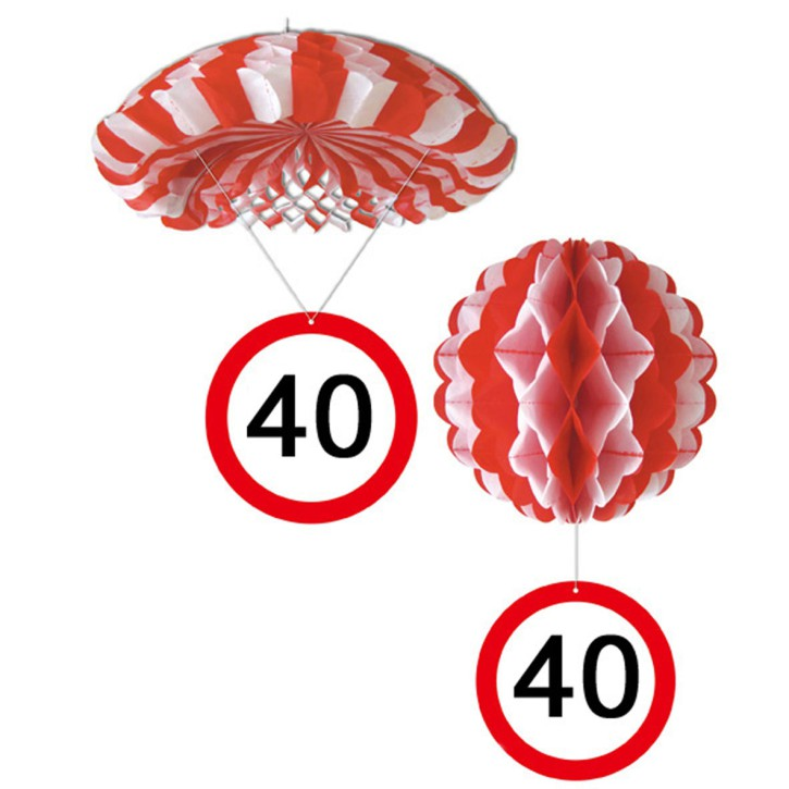 1 Deko Ballon oder 1 Deko Fallschirm mit Schild 40. Geburtstag