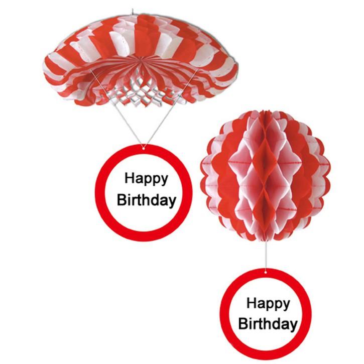 1 Deko Ballon oder 1 Deko Fallschirm mit Schild Happy Birthday