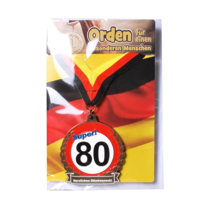 Orden 80 auf Karte zum 80. Geburtstag