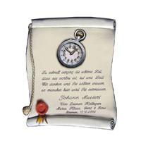Schilder Urkunde mit Spruch