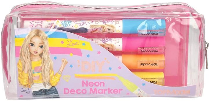 Depesche 3555 TOPModel Decomarker Neon, 4 Stifte in den Farben Pink, Orange, Hellblau und Gelb