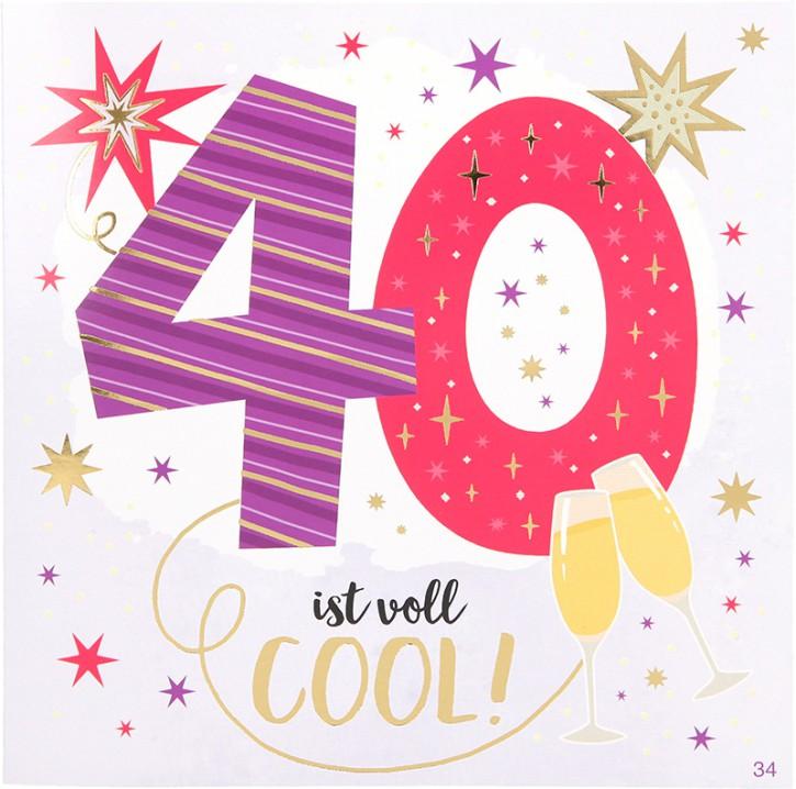 Geburtstagskarte mit Musik 3868-034 zum 40. Geburtstag