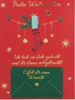 Lustige Weihnachtskarte Klappkarte Erfüll dir einen Wunsch! Frohe Weih...