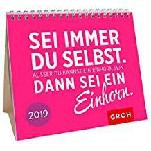 Groh Mini-Kalender 2019 zum Aufstellen Mini-Kalender mit Gute-Laune-Einhorn-Garantie