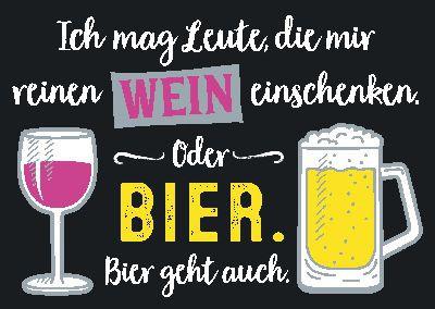 Neon Postkarte mit Spruch - Ich mag Leute, die mir reinen Wein...