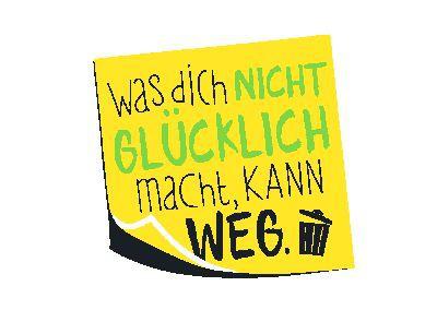 Neon Postkarte mit Spruch -  Was dich nicht glücklich macht, kann weg