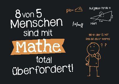 Neon Postkarte mit Spruch - 8 von 5 Menschen sind in Mathe...