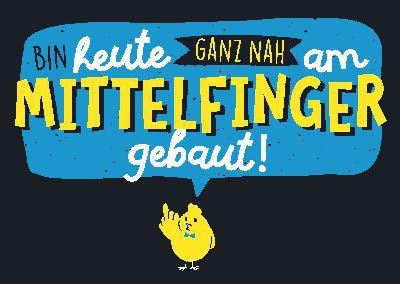 Neon Postkarte mit Spruch - Bin heute ganz nah am Mittelfinger...