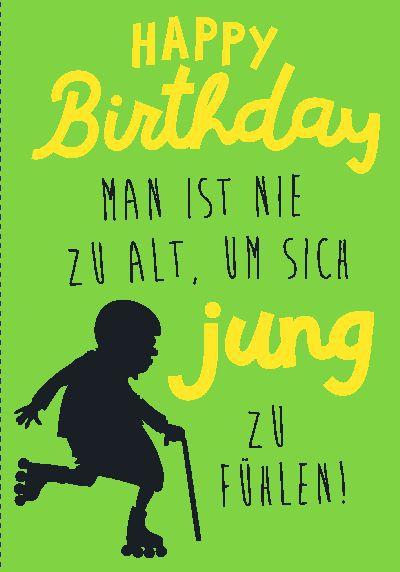 NEON Klappkarten mit Spruch - Happy Birthday - Man ist nie zu alt...