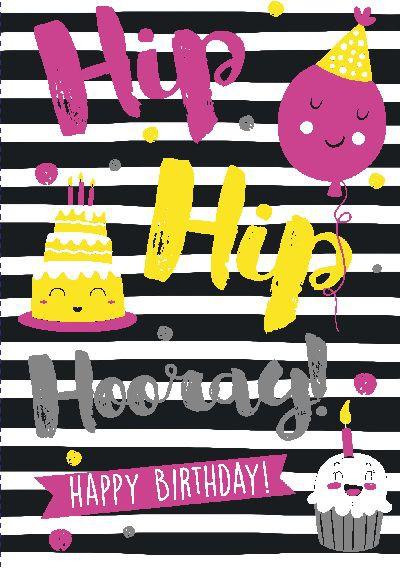NEON Klappkarten mit Spruch - Hip Hip Hooray! Happy Birthday