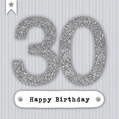 Glamour Glitzer Grußkarte Klappkarte mit Umschlag zum 30. Geburtstag ,quadratisch 003
