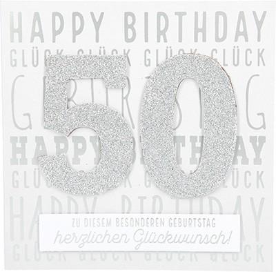 Glamour Glitzer Grußkarte Klappkarte mit Umschlag zum 50. Geburtstag ,quadratisch 006