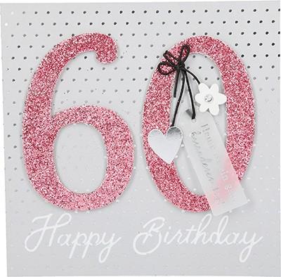 Glamour Glitzer Grußkarte Klappkarte mit Umschlag zum 60.Geburtstag ,quadratisch 007
