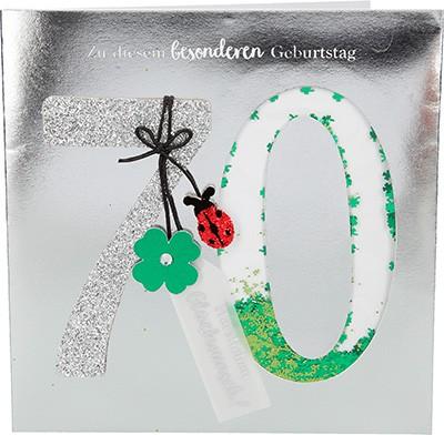 Glamour Glitzer Grußkarte Klappkarte mit Umschlag zum 70. Geburtstag ,quadratisch 009
