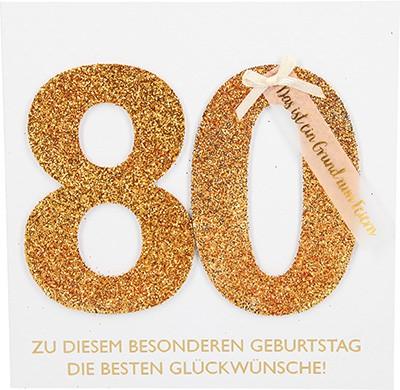 Glamour Glitzer Grußkarte Klappkarte mit Umschlag zum 80. Geburtstag ,quadratisch 010