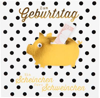 Glamour Glitzer Grußkarte Klappkarte mit Umschlag Zum Geburtstag ein Scheinchen fürs...  ,quadratisch 018