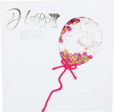 Glamour Glitzer Grußkarte Klappkarte mit Umschlag Happy Birthday  ,quadratisch 019