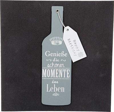 Glamour Glitzer Grußkarte Klappkarte mit Umschlag Genieße die schönen Momente im Leben., quadratisch 023