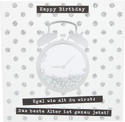 Glamour Glitzer Grußkarte Klappkarte mit Umschlag Happy Birthday egal wie alt du wirst:...  ,quadratisch 025