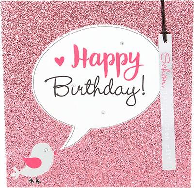Glamour Glitzer Grußkarte Klappkarte mit Umschlag Happy Birthday Schön, dass es dich gibt! ,quadratisch 026
