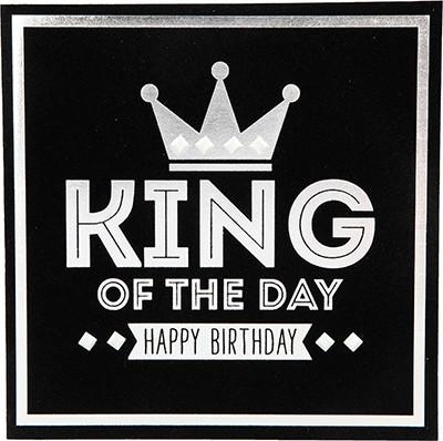 Glamour Glitzer Grußkarte Klappkarte mit Umschlag King of the day Happy Birthday  ,quadratisch 030