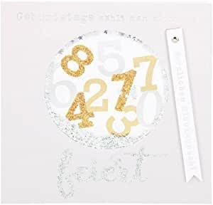 Glamour Glitzer Grußkarte Klappkarte mit Umschlag Happy Birthday ,quadratisch 032