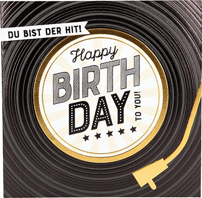 Glamour Glitzer Grußkarte Klappkarte mit Umschlag Du bist der Hit! Happy Birthday to you!  ,quadratisch 039