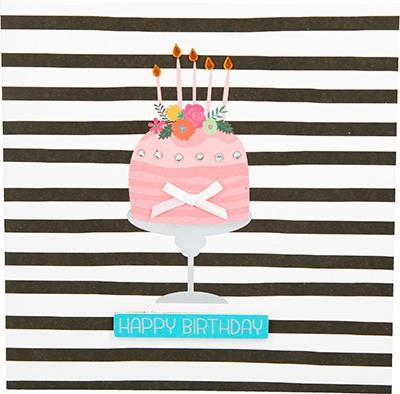 Glamour Glitzer Grußkarte Klappkarte mit Umschlag Happy Birthday ,quadratisch  040