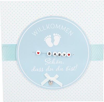 Glamour Glitzer Grußkarte Klappkarte mit Umschlag zur Geburt Junge ,quadratisch 049