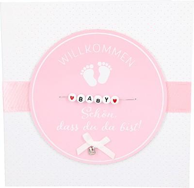 Glamour Glitzer Grußkarte Klappkarte mit Umschlag zur Geburt Mädchen ,quadratisch 050