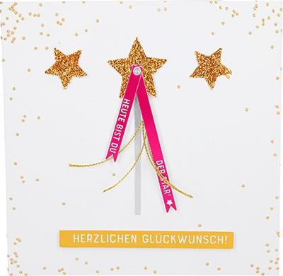 Glamour Glitzer Grußkarte Klappkarte mit Umschlag Herzlichen Glückwunsch Heute bist du... ,quadratisch 056
