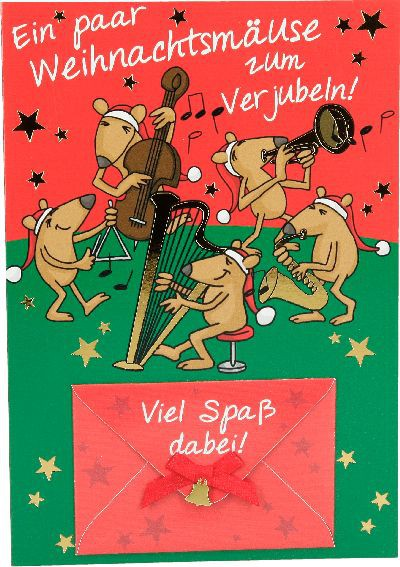Fröhliche Weihnachtskarte als Klappkarte 8622-014 Ein paar Weihnachtsmäuse zum ...