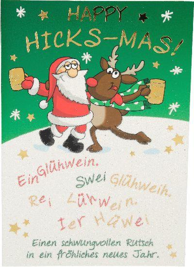 Fröhliche Weihnachtskarte als Klappkarte 8622-021 Happy HICKS_MAS! Ein Glühwein. ...
