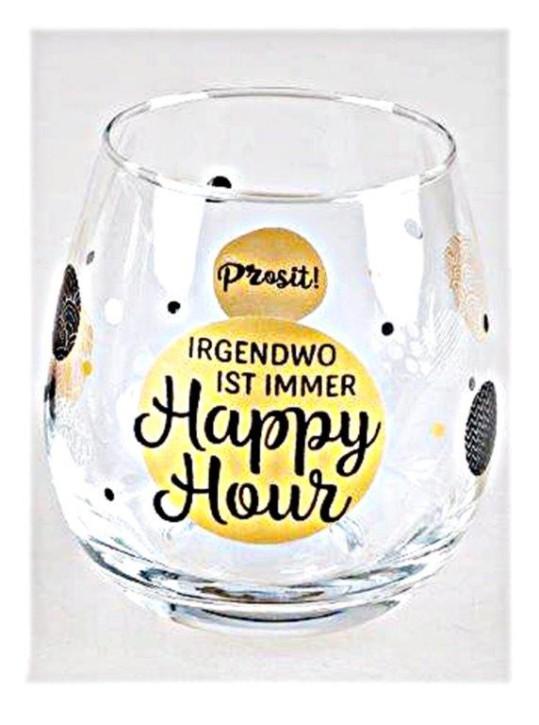 """Whiskyglas, Wasserglas oder auch Weinglas mit Spruch """"Irgendwo ist immer Happy Hour"""""""