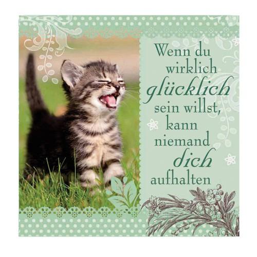 Geschirrtuch Katzen Motiv mit Spruch Glücklich sein