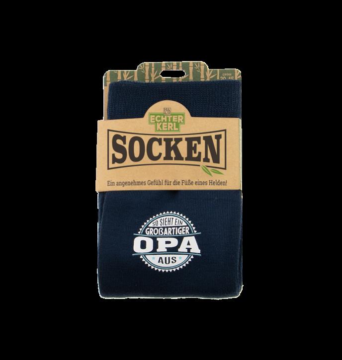History & Heraldry Design Bambus Socken mit Titel: Opa   - fuer Männer 39 - 45 / nachhaltig - Geschenk - individuell mit Namen und Spruch